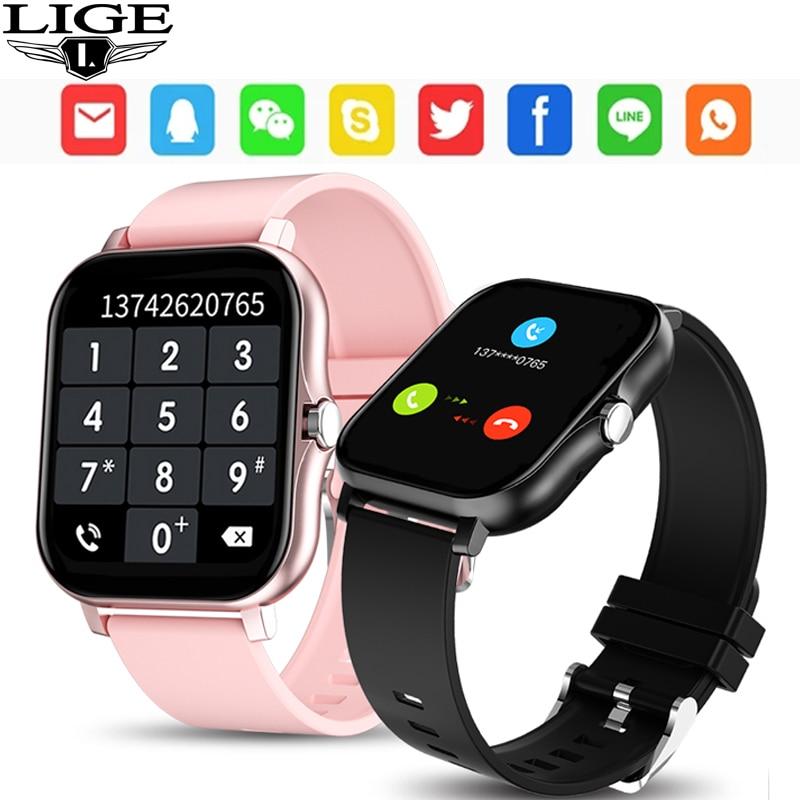 LIGE 2021 جديد ساعة ذكية النساء الرجال بلوتوث دعوة جهاز تعقب للياقة البدنية laidie Smartwatch معدل ضربات القلب النوم رصد امرأة رجل الساعات