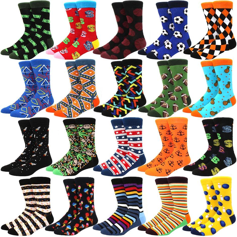 Fashion Dollar football diamond Pattern Novelty Crew Wedding Socks Mens Funny Creative Casual Cotton Colorful Socks For Male