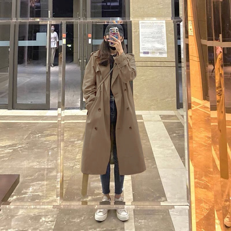 Khaki Color Women's Windbreaker Middle And Long Style 2021 Spring And Autumn New Small Temperament K