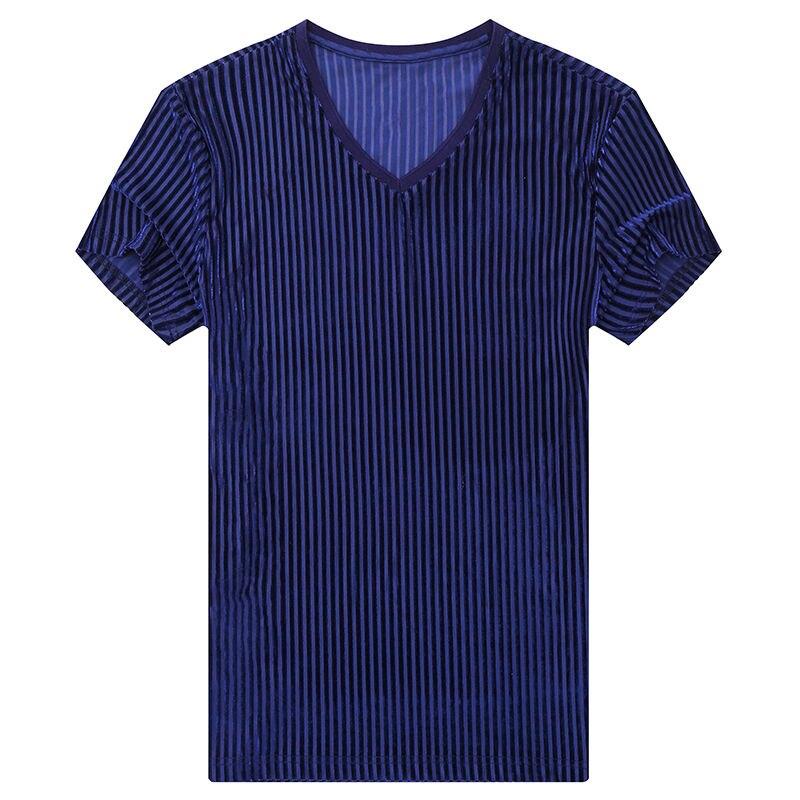تنفس جديد رقيقة الصيف قصيرة الأكمام تي شيرت طوق الملابس موضة ضئيلة الصيف الجسم البلوز الرجال