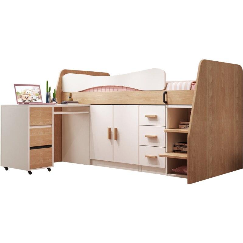سرير أطفال سرير شبه مرتفع سرير سرير مفرد مكتب خزانة الكل في واحد مجموعة أثاث غرفة الأطفال بسيط عصري