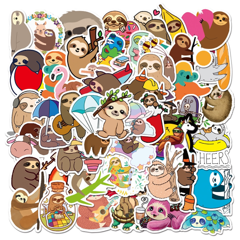 10/30/50PCS Cute Sloth Animal Stickers Skateboard Guitar Laptop Motorcycle Luggage Classic Toy Joke Sticker for Kid Gift Decal