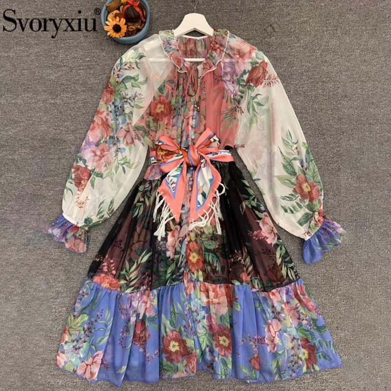 Svoryxiu Fashion Designer Summer Women Bohemian Vacation Mini Dress Ladies Bow Belt Multicolor Floral Print Short Dresses