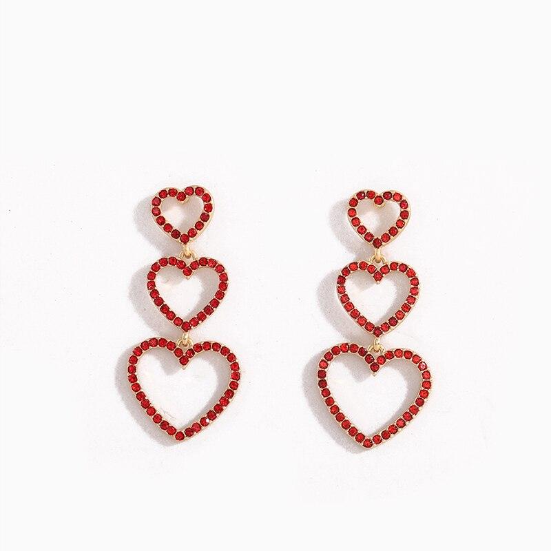 2020 nowy modny czerwony stras serce gwiazda Geo kolczyki ślubne koreański moda Wedding Party biżuteria