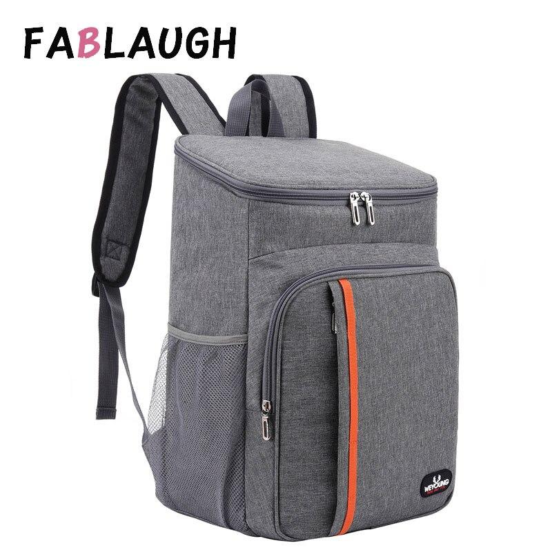 Fablaugh saco de piquenique ao ar livre grande capacidade mochila à prova de vazamento homem mulher térmica isolado cooler ombro mochila saco de armazenamento