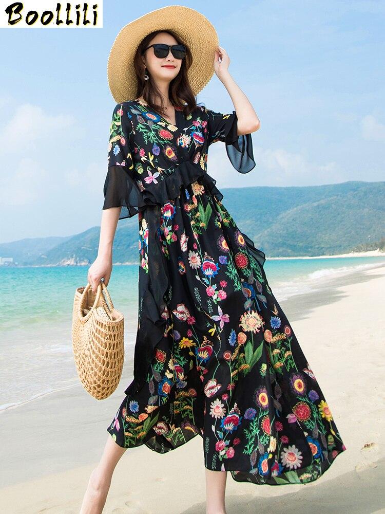 Boollili-vestido negro de seda para mujer, vestido de Verano largo con estampado Floral elegante, Vestidos ajustados de alta calidad, Maxi Vestidos Verano 2020