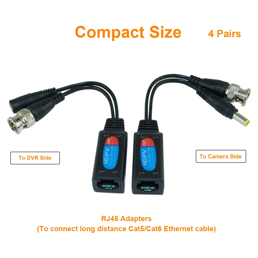 5 Pairs 8MP CCTV Coax BNC Video Power Balun Transceiver Connectors To CAT5e 6 RJ45 Connector For CCTV Cameras enlarge
