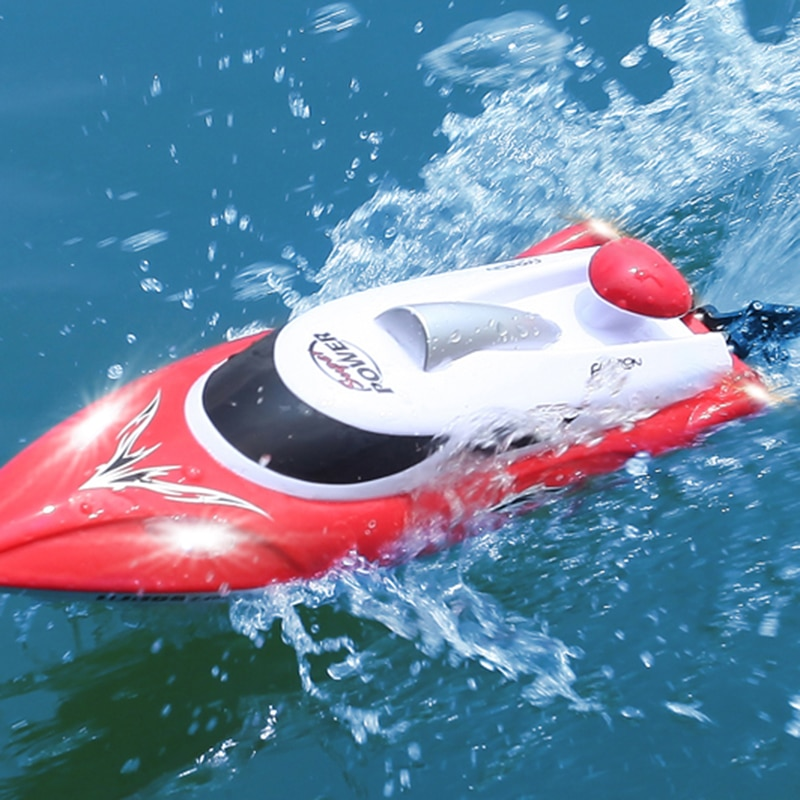 2.4G RC High Speed racing Boat with LED Lights 35km/h HJ806 Waterproof Speedboat 200ms Model Electric professional ship Toys boy