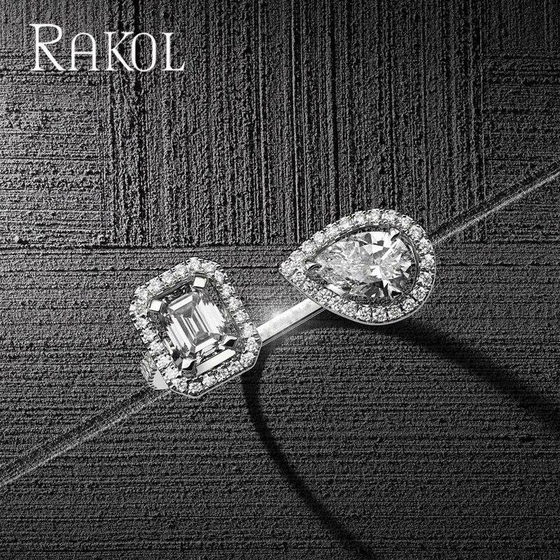 RAKOL Luxury Geometric Cubic Zirconia Open Rings for Women Fashion Water Drop & Square Finger Wedding Party Dress Jewelry