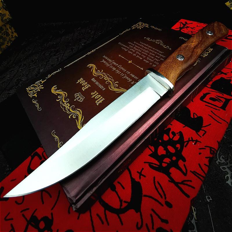 Pegaso, mango de madera de pera amarilla, cuchillo recto para exteriores, cuchillo de rescate, cuchillo de campamento, cuchillo de caza recto, cuchillo táctico