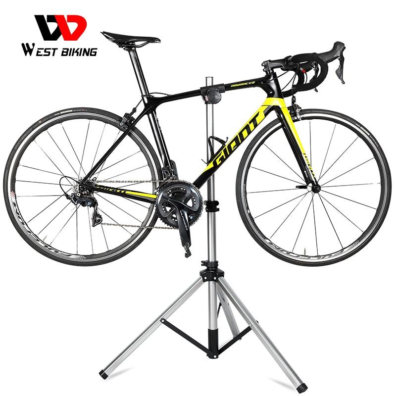 WEST BIKING Portable Bike Repair Stand Adjustable Foldable Bicycle Repair Tools Aluminum Alloy MTB Road Bicycle Maintenance Tool
