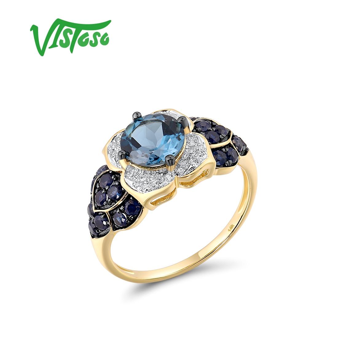 VISTOSO خاتم ذهبي للمرأة نقية 14K 585 الذهب الأصفر تألق الطبيعية لندن الأزرق توباز الياقوت الماس براقة غرامة مجوهرات