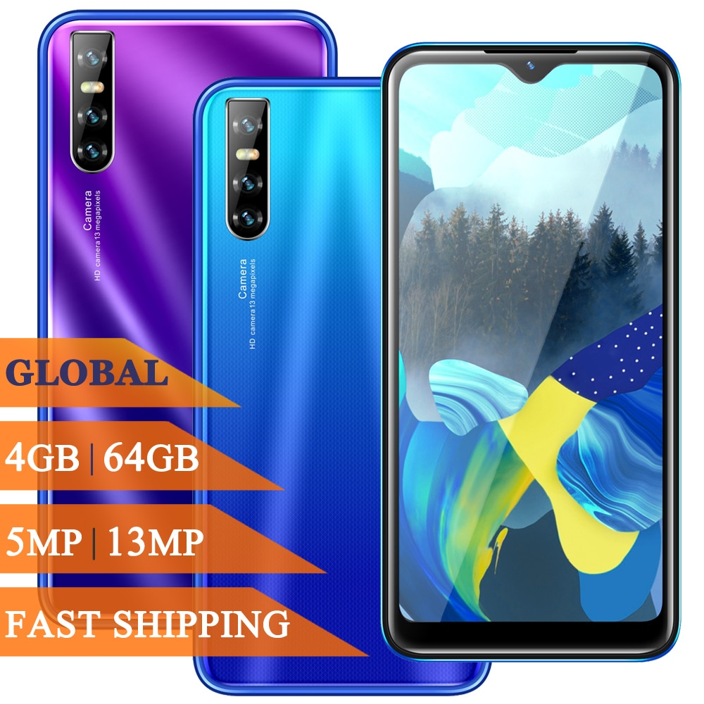 Smartphone Note 9 Pro lte 4G RAM 64G ROM 6.26 inch Face ID Waterdrop Screen Unlocked Cellphones Android Mobile Phones Cell Phone