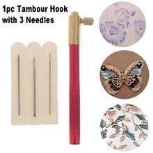 Ganchos de ganchillo bordados con 3 agujas, accesorios de costura de punto, Kit de herramientas de bordado a mano con cuentas de ganchillo francés