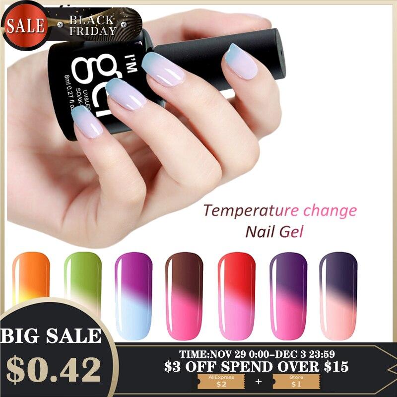 Verntion Gel de esmalte de uñas Gel de cambio de temperatura termo UV Gel de uñas Poly laca temperatura duradera LED UV laca de Gel manicura para