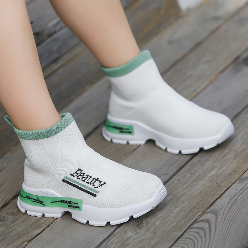 Women's sports shoes Children's socks foreign trade girls 2021 high-top stretch knit boys new wave Sneakers Size21-37