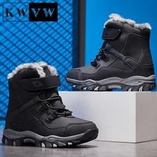 Winter Plus Velvet Kids Snow Shoes Pure Cotton Warm Boy Outdoor Casual Sport Booties Non-slip Durabl