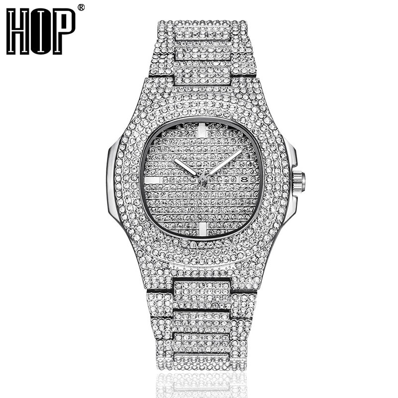 Hip Hop Men Iced Out Watches Luxury Date Quartz Wrist Watches With Micropave CZ Watch For Women Men