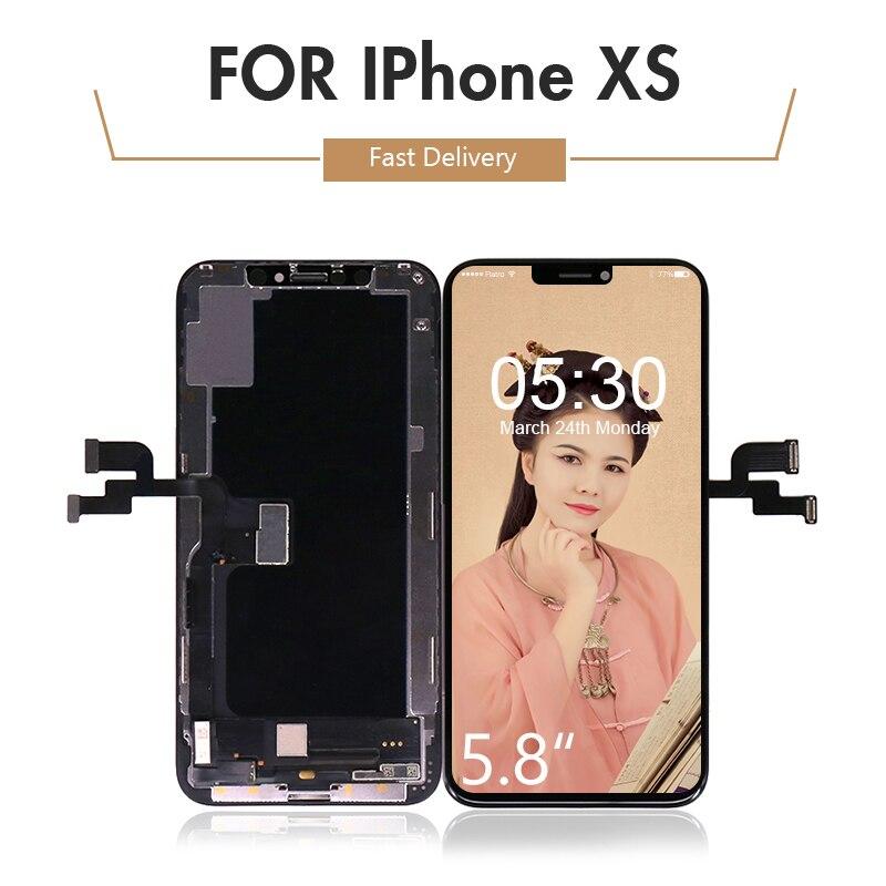 10 unids/lote para iPhone XS pantalla LCD y pantalla táctil digitalizador montaje TFT para iPhone XS LCD A2097 A1920 envío gratis DHL EMS