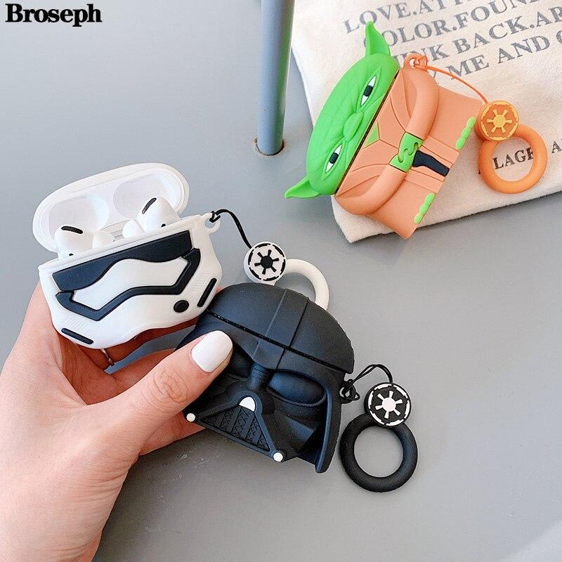 Funda de auriculares inalámbricos Bluetooth Yoda de dibujos animados 3D para Air Pods Pro, funda de silicona para auriculares, funda para AirPods Pro, caja de carga