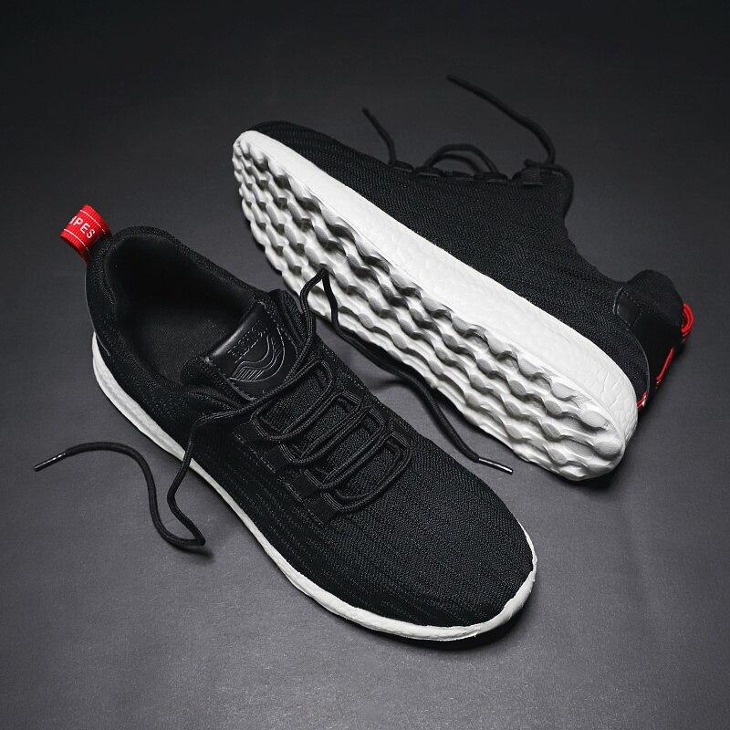 Zapatillas negras para hombre, zapatos de malla para correr, transpirables, zapatos de correr en el exterior, zapatos informales con cordones para hombre, tallas ligeras 39 ~ 47