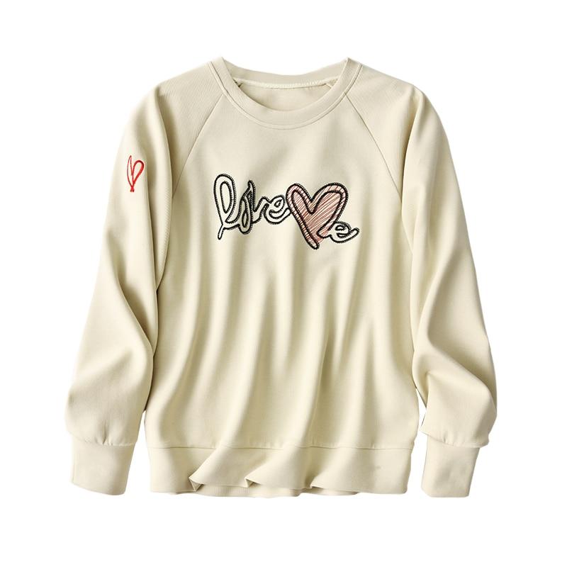 SHUCHAN Love Letter Cute Loose Sweatshirt 78% COTTON  Spring/Autumn  Casual  Printing  Pullovers  Long Sleeve  Hoodies Women