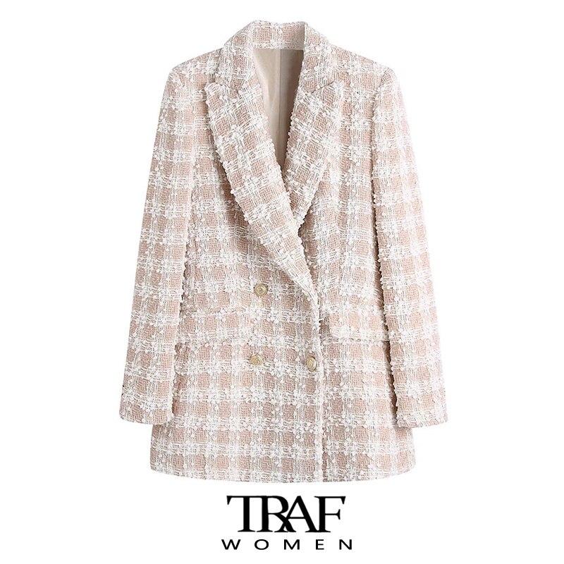 معطف سترة عصرية للنساء من TRAF Za بأزرار ثنائية الصدر وأكمام طويلة وجيوب واسعة للنساء ملابس خارجية أنيقة للنساء