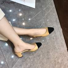 Prowow leather gladiator women sandals beige summer office shoes high heels back strap pump casual s