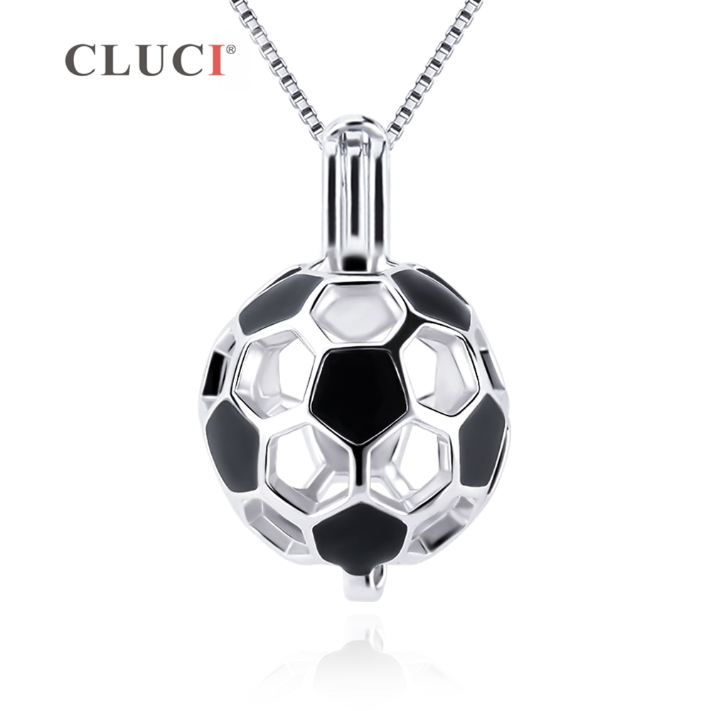 CLUCI, colgante de Plata de Ley 925 para balón de fútbol, colgante de joyería para mujer, regalo de plata auténtica 925, con forma de jaula de perlas para fútbol SC373SB