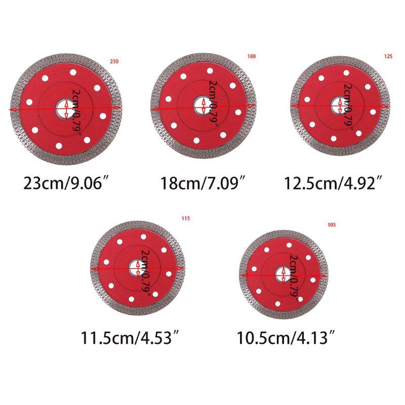 105/115/125/180/230mm diamante cerâmica circular disco vermelho lâmina de serra de porcelana lâmina de corte para telhas de corte metal-corte chop