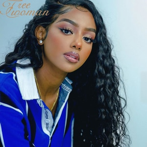 FREEWOMAN Curly Lace Front Wig with Baby Hair Long Loose Wave Synthetic Wig Heat Resistant Fiber Daily Wear Wigs for Black Women