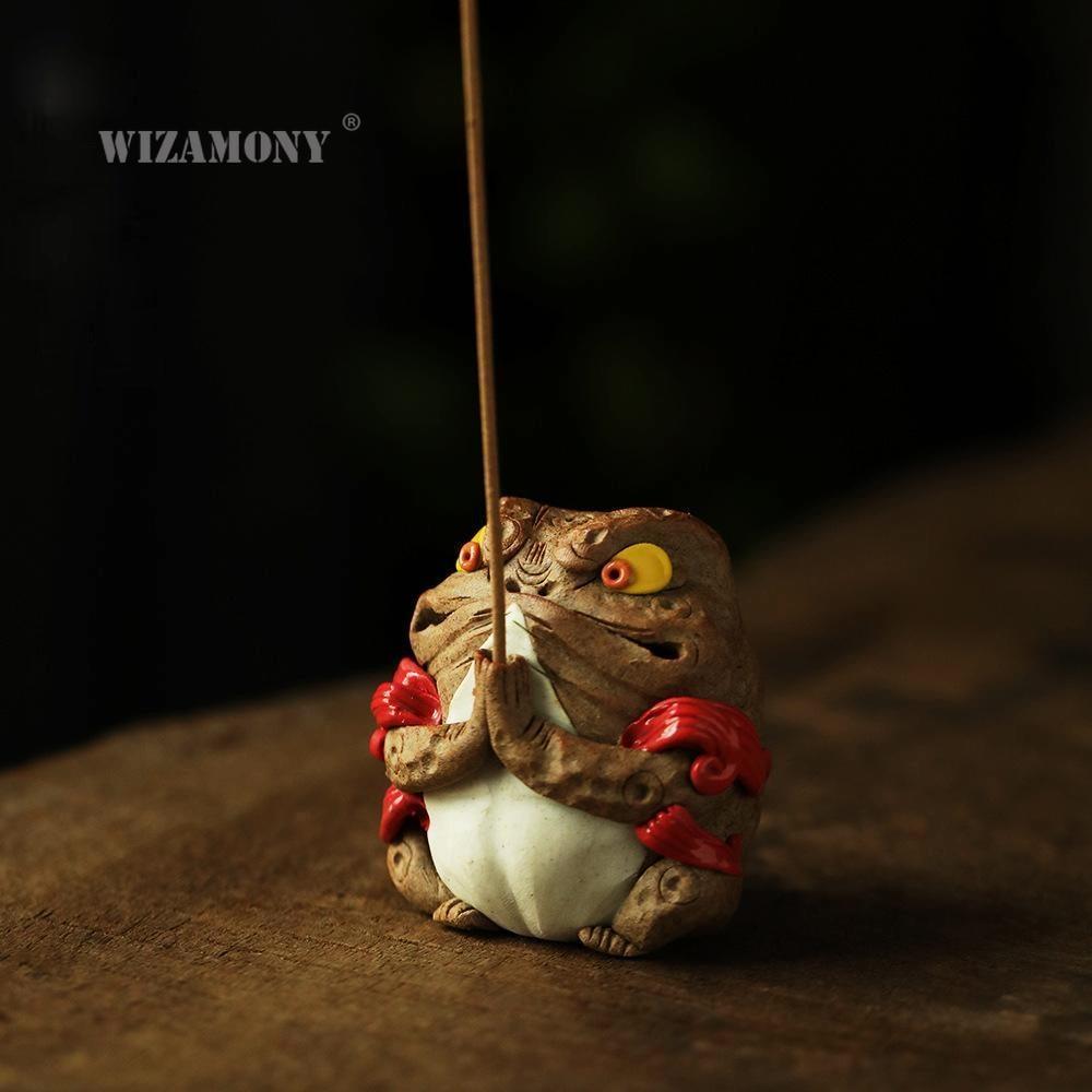 Wizamony Jingdezhen اليد الضفدع الخالد منحوتة البخور عصا لجذب الثروة مبخرة إبريق الشاي اليدوية بحتة