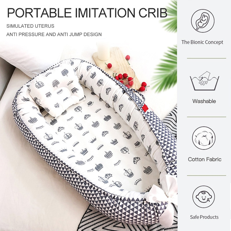 88*53cm Portable Baby Nest Bed With Pillow Foldable Crib Travel Bed Infant Toddler Cotton Cradle for Newborn Bassinet Bumper Pad enlarge