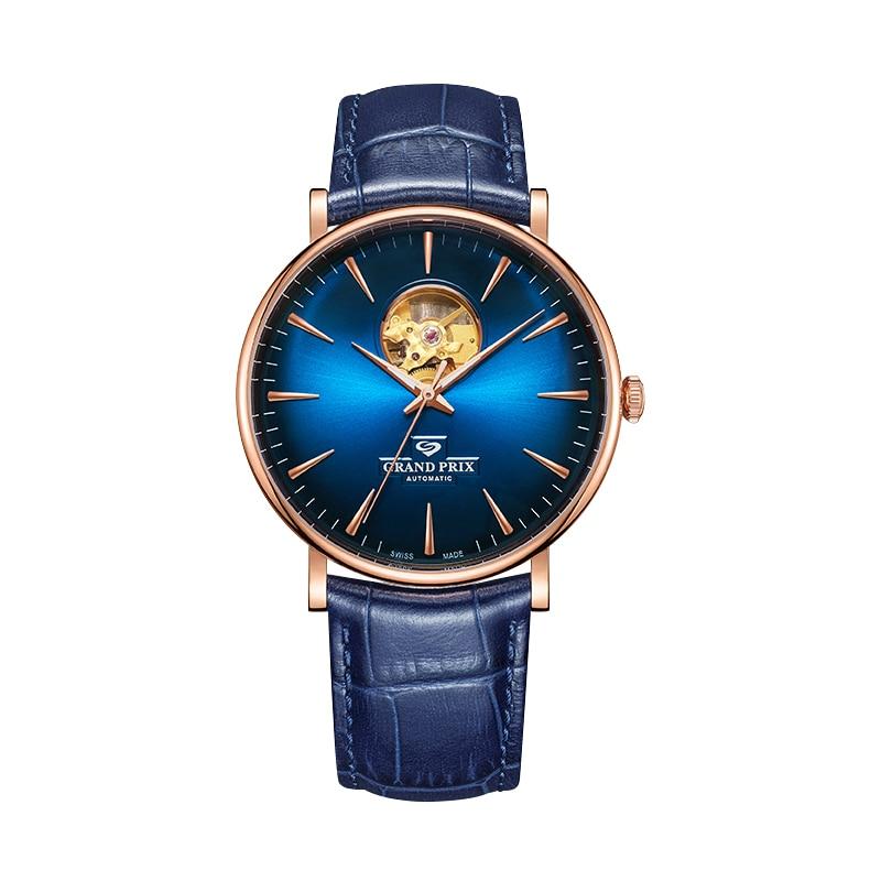 GRAND PRIX Mechanical Watch Men Top Brand Luxury 2020 Leather Sports Watches Waterproof Automatic Wristwatches relogio masculino