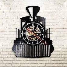 Creative Vintage Steam Locomotive Black Hanging Wall Clock Train Model Design Illuminated Wall Watch Track Railroad Decorative