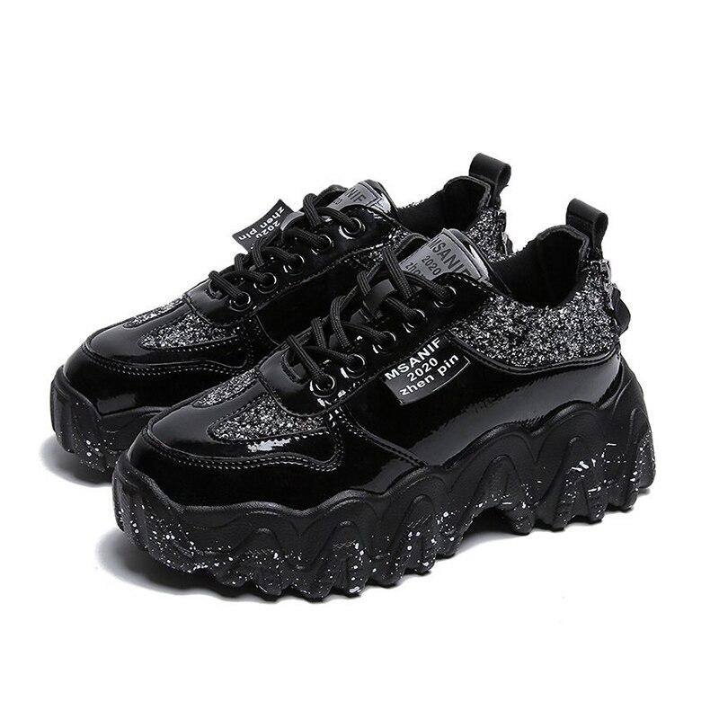 Lucyever charol Glitter Chunky Sneakers mujer otoño 2020 encaje Casual Up zapatos de plataforma mujer gruesa suela Vulcanize zapatos