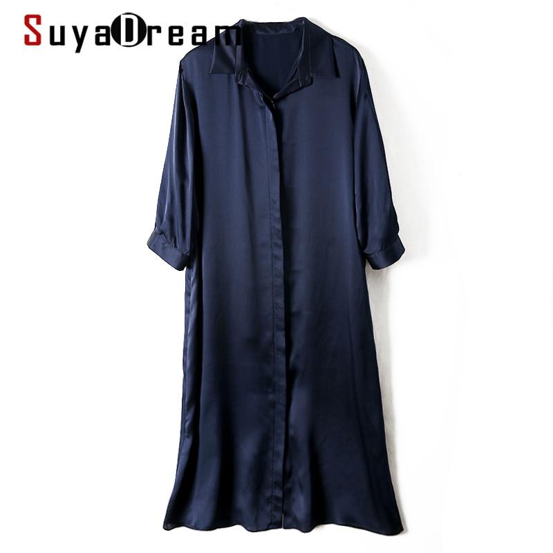فستان قميص حريمي من SuyaDream موضة 100% من الساتان الناعم وأكمام 3/4 فساتين متوسطة موضة 2021 فساتين الصيف والخريف باللون الكحلي