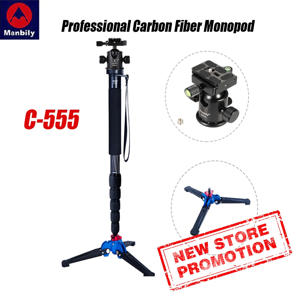 Manbily C-555 professional carbon fiber monopod portable desktop video photography tripod stand ball head for digital SLR camera