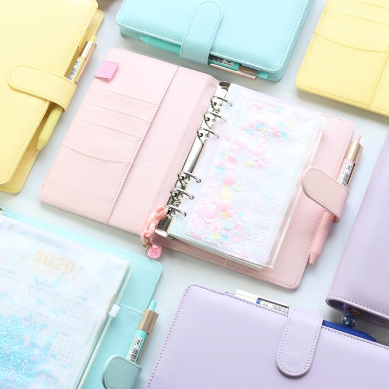 Cuadernos de espiral de macarrón para oficina y escuela, carpeta personal bonita, organizador semanal, agenda, oro rosa, A5A6, novedad de 2021