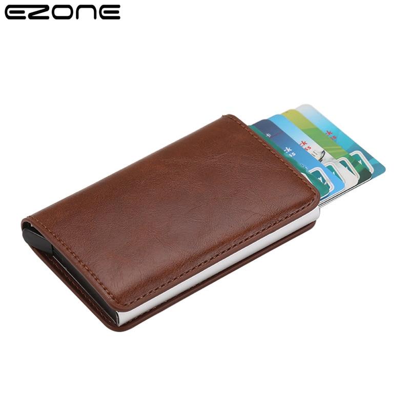 EZONE кожа Бизнес держатель для карт Бизнес кошелек Анти-кражи и антимагнитными свойствами RFID Бумажник для кредитных автоматическое извлечен...