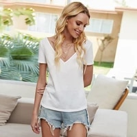 2020 summer loose deep v neck white t shirt women lace stitching solid top backless short sleeve tops leisure party clothes