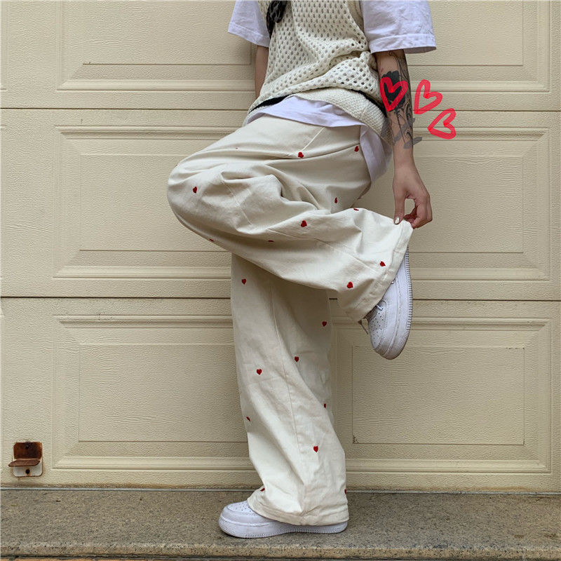 Womens Jeans Casual Wide Leg Pants Heart Shaped Embroidery Elastic Waist   Streetwear Retro Baggy Straight Jeans Wide Leg Pants