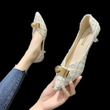2021 Spring New Single Shoes Women Stiletto Metal Decorative Temperament Women's Shoes Pointed Toe P