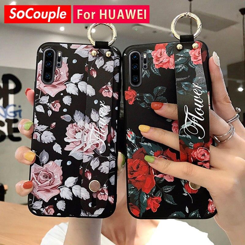 SoCouple Wrist Strap Case For Huawei P20 P30 P40 Pro Lite Mate 10 20 Pro 30 Lite Nove 3i 5t Honor 20 Pro 10 Phone Holder Case