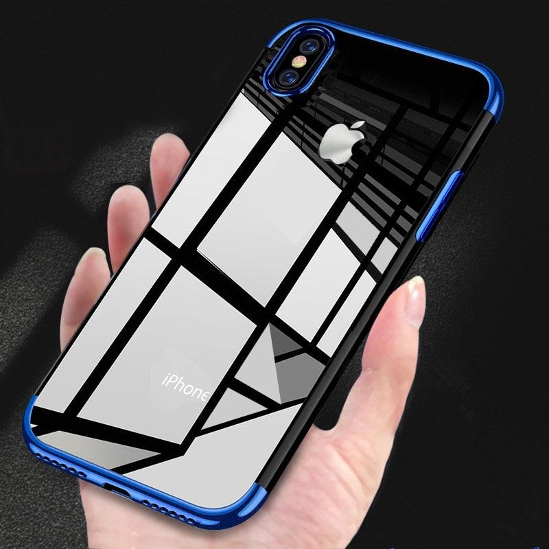 Para Apple para el iphone 6 6s 7 8 plus 11 pro Max X XR XS Max Negro Azul de plata de Oro suave TPU transparente láser teléfono caso