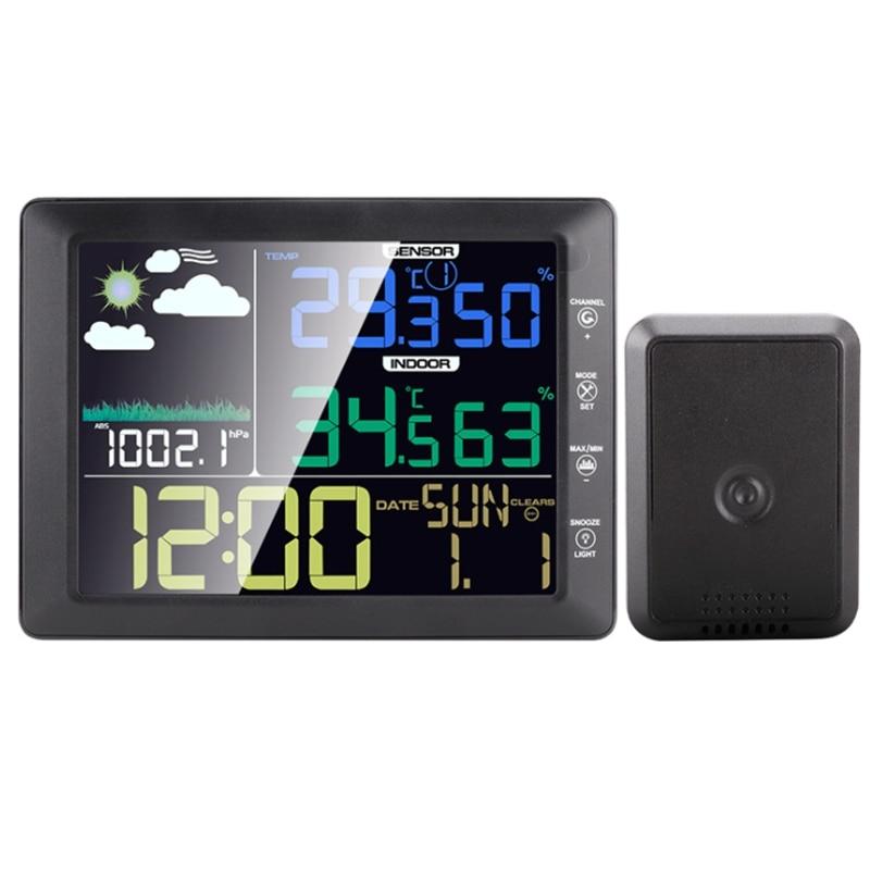 TS-8210 اللاسلكية شاشة ملونة محطة الطقس ساعة داخلي في الهواء الطلق درجة الحرارة الرطوبة متر توقعات الصوت التحكم-40-60C
