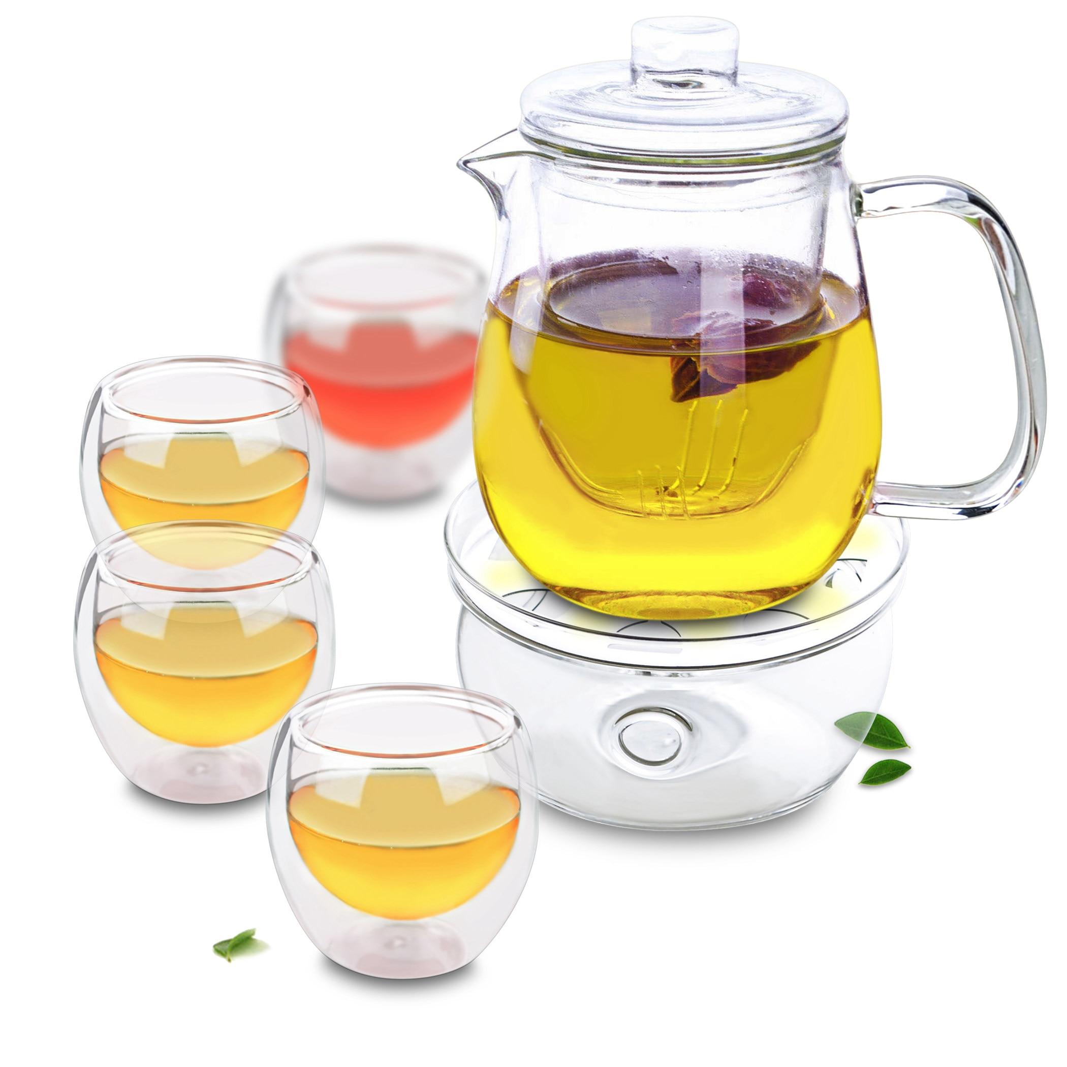 البطريق نمط إبريق الشاي & 4 قطعة مزدوجة الجدار Teacups & مستديرة أكثر دفئا-طقم شاي