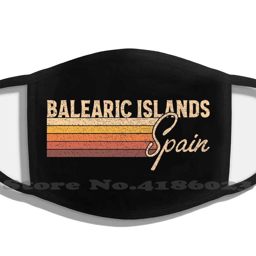 Balearic Islands Spain Men Women Washable Black Masks Face Mask Balearic Islands Spain Balearic Islands Spain Spanish 1970S