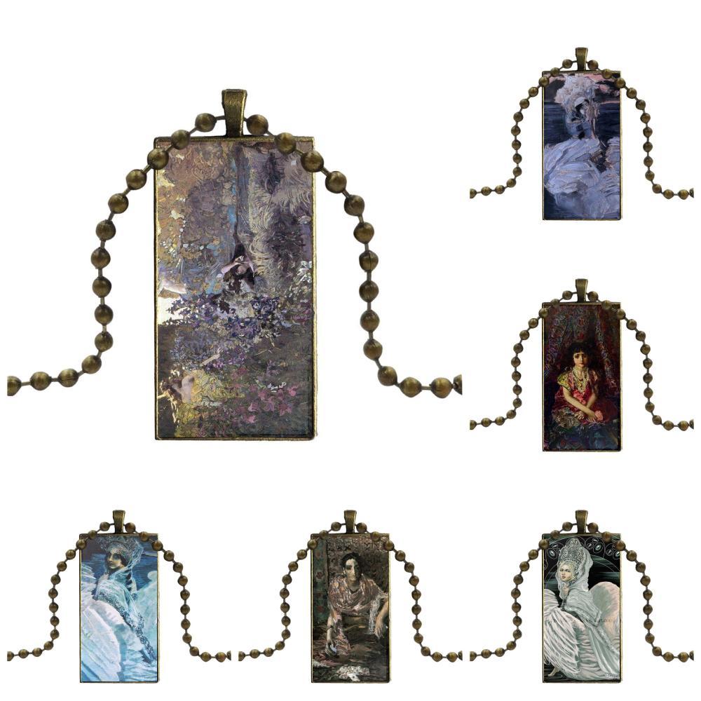 Mikhail Vrubel Princess Swan Fashion Glass Cabochon Pendant Rectangle Necklace Choker Necklace Jewelry For Women Girls Handmade