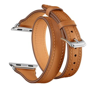 Leather Band for Apple watch band Iwatch Series 5 4 3 2 1 40/44mm Leather Strap 38mm 42mm Double Tour Bracelet Women's Watchband